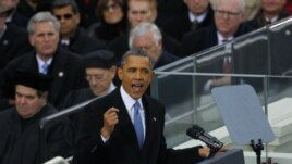 Barack Obama discursando na tomada de posse (21 Janeiro 2013)