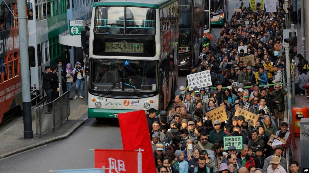 Cuộc biểu tình đầu Năm Mới thu hút đông đảo người dân Hong Kong