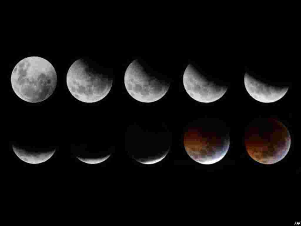 A combination of photographs shows the gradual lunar eclipse ending with a total eclipse as seen over the skies of Mexico City December 21, 2010. During the eclipse, the Earth lined up directly between the Sun and the Moon, casting Earth's shadow over the