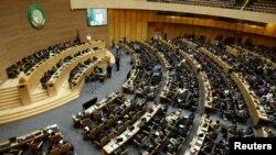 Une vue générale du président Idriss Deby lors de la 26e session ordinaire à l'Assemblée nationale de l'Union africaine en Ethiopie à Addis Ababa, le 31 janvier 2016.