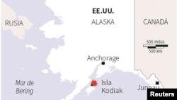 Le séisme a été enregistré au large de la côte sud de l'Alaska, le 23 janvier 2018.