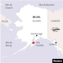 Sitio del terremoto en Alaska.