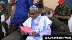 Shugaban Najeriya Muhammad Buhari a bikin kaddamar da tashar tekun kan tudu a Kaduna