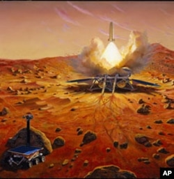 Artist rendering of a Mars Sample Return mission that would use robotic systems and a Mars ascent rocket to collect and send samples of Martian rocks, soils, and atmosphere to Earth for detailed chemical and physical analysis.