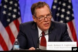FILE - U.S. Trade Representative Robert Lighthizer speaks during a news conference at the start of NAFTA renegotiations in Washington, Aug. 16, 2017.