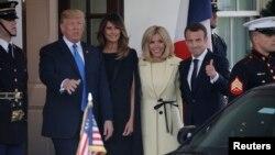 El presidente de Estados Unidos Donald Trump y la primera dama Melania Trump reciben en la Casa Blanca al presidente francés Emmanuel Macron y a su esposa Brigitte. Abril 23, 2018