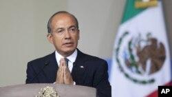 Presiden Meksiko Felipe Calderon menyampaikan pidato kenegaraan di Mexico City. (Foto: Dok)