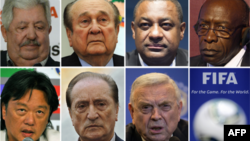 Bảy quan chức FIFA bị bắt giữ (từ trái): Rafael Esquivel, Nicolas Leoz, Jeffrey Webb và Jack Warner. Dưới: Eduardo Li, Eugenio Figueredo và Jose Maria Marin.
