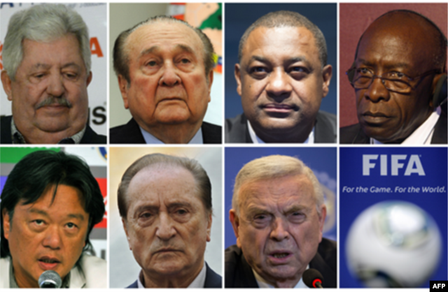 The FIFA executives indicted include, top, from left, Rafael Esquivel, Nicolas Leoz, Jeffrey Webb and Jack Warner. Bottom, from left, Eduardo Li, Eugenio Figueredo and Jose Maria Marin.