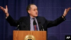 "FILE -- In this Jan. 23, 2007 file photo, Harvard law professor Alan Dershowitz addresses an audience at Brandeis University, in Waltham, Mass. Dershowitz told Israel Army Radio on Thursday, March 30, 2017, that President Trump, in a conversation with him this month, spoke to him ""clearly"" about a two-state solution to the Israeli-Palestinian conflict that would lead to an independent Palestinian state. Trump broke with longtime U.S. policy last month when he withheld clear support for an independent Palestine alongside Israel, declaring he could endorse a one-nation solution."