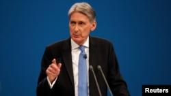 Le ministre des Finances du Royaume Uni Philip Hammond à Manchester, Grande Bretagne, 2 octobre 2017.