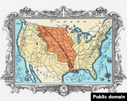 토머스 제퍼슨 대통령 재임기간 중 미국이 프랑스로부터 매입한 '루이지애나 테리토리'가 지도에 주황색으로 표시됐다.