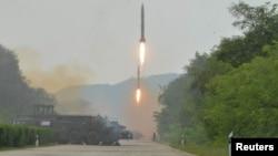北韓發射導彈資料照。