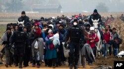 在警察的陪同下,难民们穿过斯洛文尼亚的边界(2015年10月27日)。