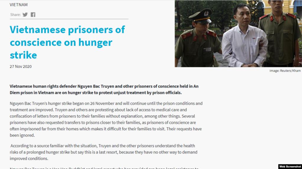 Tổ chức Đoàn kết Công giáo Toàn cầu vừa lên tiếng về việc tù nhân lương tâm tôn giáo Nguyễn Bắc Truyển tuyệt thực ở trại giam An Điềm, tỉnh Quảng Nam, ngày 27/11/2020.