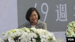 台灣總統當選人蔡英文在228紀念活動上發表講話.