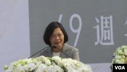 台湾总统当选人蔡英文在228纪念活动上发表讲话