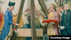 Джордж Вашингтон закладывает первый камень в основание здания Конгресса США. Стенная роспись Эллин Кокс (US Government Photo)