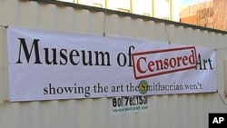 "Michael Iacovone recently he built a whole museum - inside a shipping container called the Museum of Censored Art. It is ""parked"" in front of the Smithsonian Institution's National Portrait Gallery."