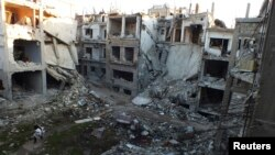 Bangunan yang rusak di wilayah Homs