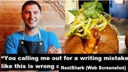 Bức ảnh chụp màn hình bài viết trên NextShark với hình ảnh đầu bếp Peja Krstic, chủ nhà hàng Mot Hai Ba ở Dalls, Texas, người doạ kiện một phụ nữ Mỹ gốc Việt vì nhắc nhở sửa lỗi viết sai tên món ăn Việt Nam, bánh mì, trong một đăng tải trên Instagram. (Screenshot of NextShark)