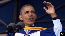 Presiden AS Barack Obama memberikan pidato acara kelulusan kepada angkatan 2016 Howard University di Washington (7/5). (AP/Susan Walsh)