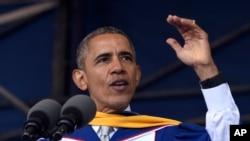 Shugaban Amurka Barack Obama a bikin yaye dalibai a jami'ar Howard dake nan Washington DC.