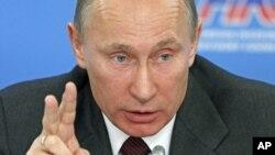 俄羅斯總理普京星期一在莫斯科發表講話
