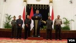 Presiden Susilo Bambang Yudhoyono dalam sebuah jumpa pers baru-baru ini. (VOA/Andylala Waluyo)