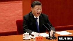 Chủ tịch Trung Quốc Tập Cận Bình phát biểu nhân kỉ niệm 110 năm Cách mạng Tân Hợi tại Đại lễ đường Nhân dân ở Bắc Kinh, Trung Quốc, ngày 9 tháng 10, 2021.