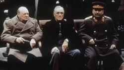 British Prime Minister Winston Churchill, left, US President Franklin Roosevelt and Soviet Premier Josef Stalin in Yalta, Crimea, on February 4, 1945
