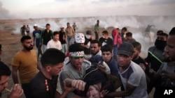 巴勒斯坦人11號在加沙地帶抗議以色列的封鎖