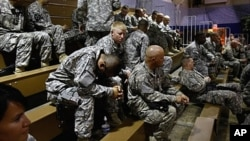 US Army soldiers await departure for their deployment to Afghanistan in Fort Carson, Colorado (File)