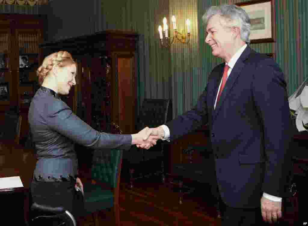 یولیو تیموشنکو در دیدار با ویلیام برنز، معاون وزیر امور خارجه آمریکا