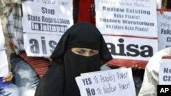 4月21日在新德里反对建造核电站的活动人士