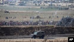 巴勒斯坦人2018年8月17日在加沙地带和以色列的边界抗议示威