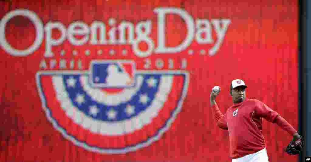 Washington Nationals relief pitcher Rafael Soriano warms up before an Opening Day baseball game against the Miami Marlins in Washington D.C.