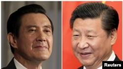 Presiden Taiwan Ma Ying-jeou, kiri, dan Presiden China Xi Jinping.