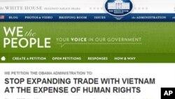 Thỉnh nguyện thư We the People trên trang web của White House