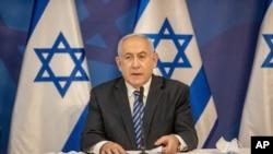 El primer ministro de Israel, Benjamin Netanyahu, hace una declaración sobre Hezbolá en el Ministerio de Defensa en Tel Aviv. Julio 27 de 2020.