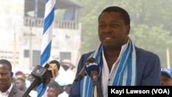Faure Gnassingbé, na meeting na Sokodé, Togo, le 20 février 2020. (VOA/Kayi Lawson)