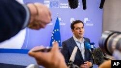 希臘總理齊普拉斯7月13日星期一在布魯塞爾