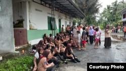 Lebih dari 250 siswa jatuh ke Sungai Sembor yang meluap ketika sedang melaksanakan kegiatan menyusuri sungai di Sleman, DI Yogyakarta. (Courtesy : BNPB)