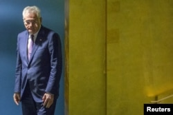 FILE - Serbia's President Tomislav Nikolic arrives at the 70th session of the United Nations General Assembly at the U.N. Headquarters in New York, Sept. 30, 2015.