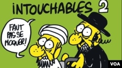 """Derginin dünkü sayısında kapaktan, Fransa'da en çok izlenen 'Dokunulmazlar' filmine atıfta bulunularak, bir Yahudi ve bir Müslüman'ın bulunduğu karikatürde, """"Dokunulmazlar 2: Dalga geçmemek lazım"""" deniyor"""