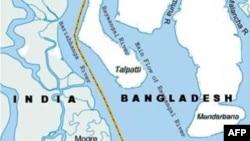 Bản đồ hòn đảo mà Bangladesh gọi là South Talpatti còn Ấn Độ gọi là New Moore