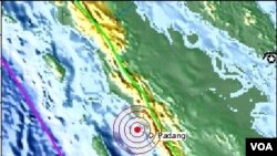 Lokasi Gempa di Padang, Sumatera Barat tanggal 30 September 2009 yang berkekuatan 7,6 skala Richter (foto: USGS).