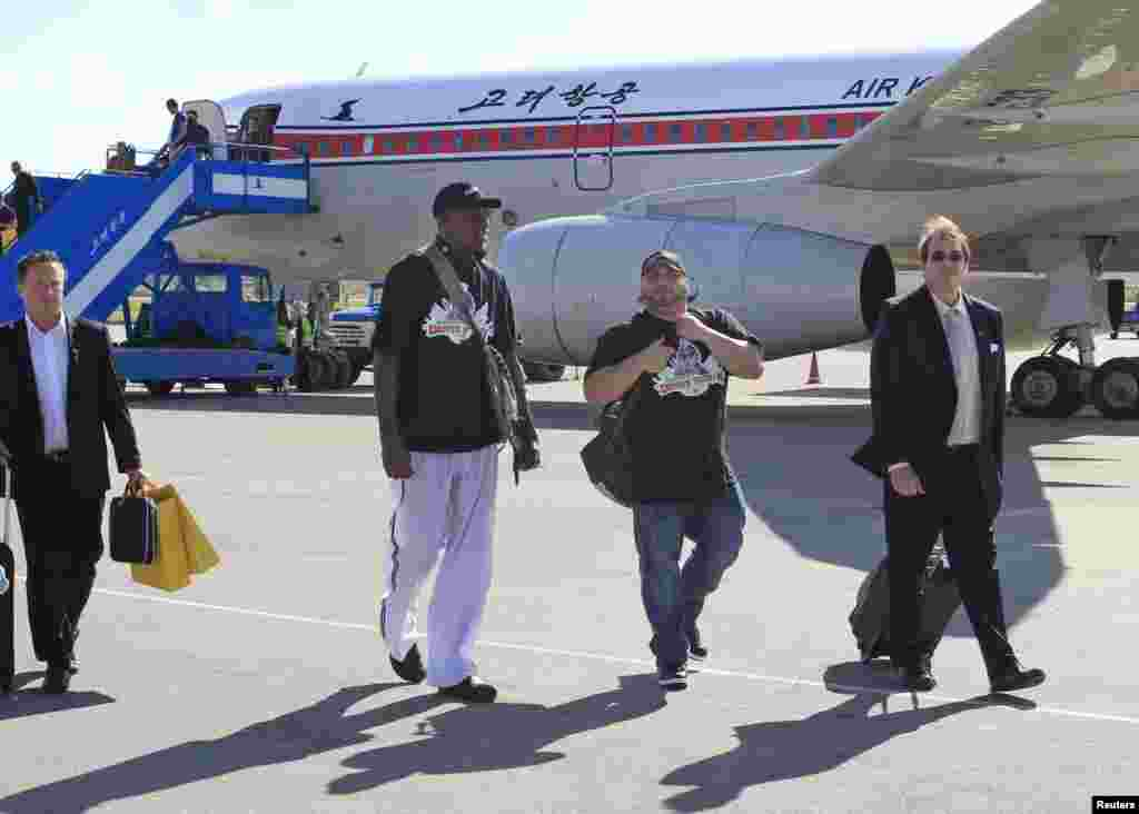 Dennis Rodman arrives at Pyongyang's airport, Sept. 3, 2013.