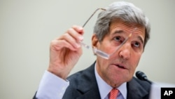 FILE - U.S. Secretary of State John Kerry testifies on Capitol Hill in Washington, July 28, 2015.