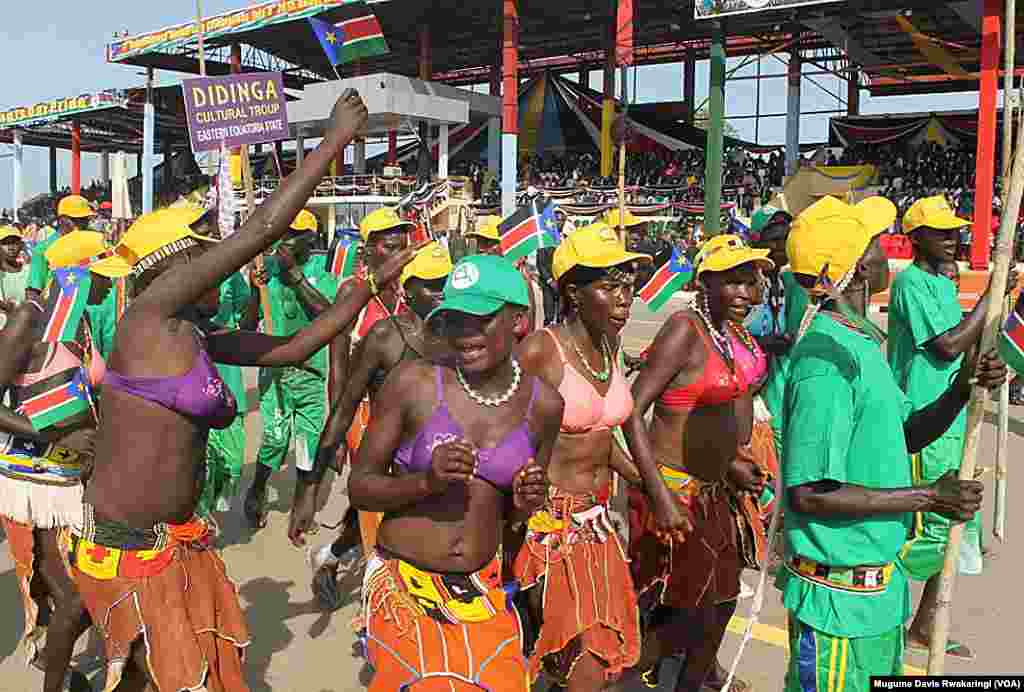 The Didinga Cultural Troupe from Eastern Equatoria state celebrates South Sudan's fourth anniversary of independence at an event in Juba.